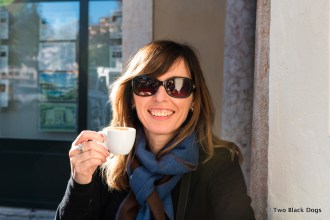Me enjoying the wonderful coffee