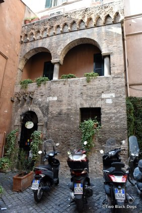 The façade of a tenth century synagogue in Vicolo dell'Atleta (Athlete's Alley), Trastevere