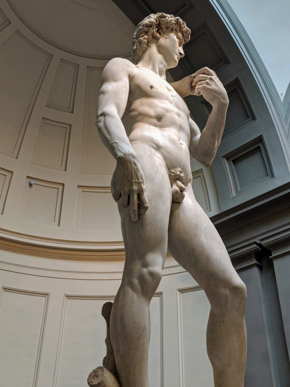 Michelangelo's David from the left at the Galleria