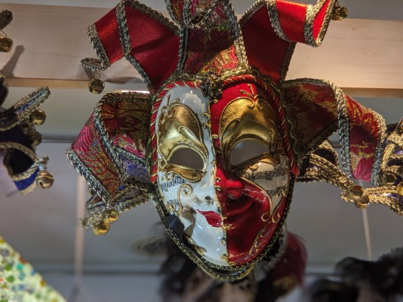 White and red Venetian mask