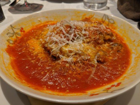 A plate of Lasagna Bolognese at Ristorante La Feluca, Venice, Italy