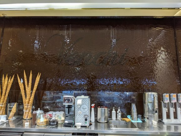 Wall of cascading chocolate