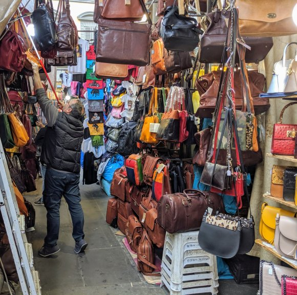 Leather goods at a street market