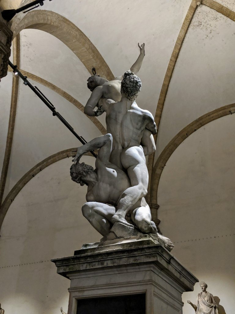 The Rape of the Sabine Women at night