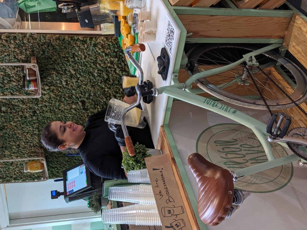 Bicycle-powered smoothie blender at the Mercato Centrale in Florence, Italy