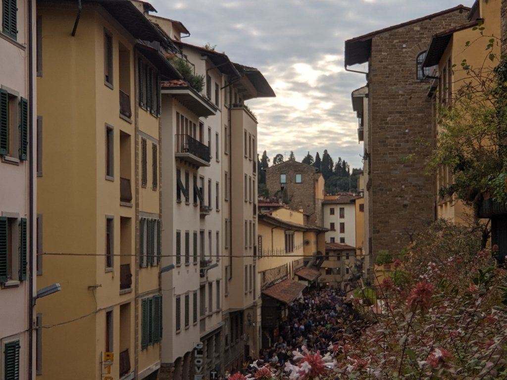 View of street in Florence, Italy from the balcony of the Hotel della Signoria