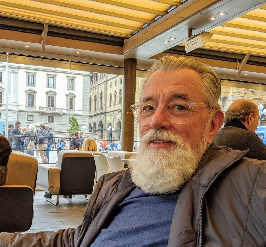 Adriel at the Paszkowski Cafe in Florence, Italy