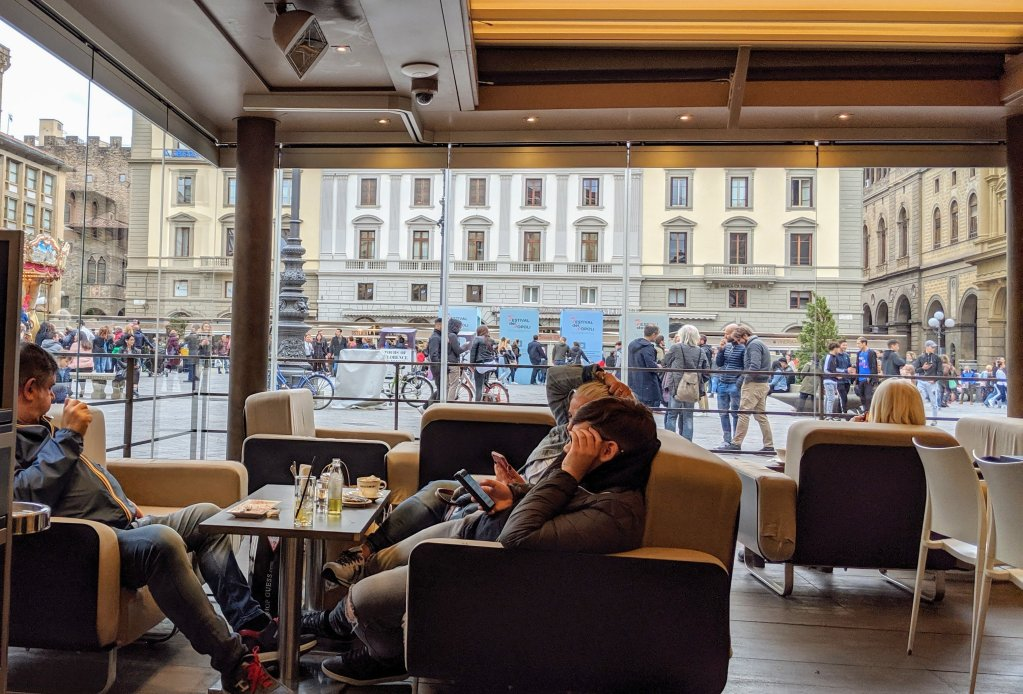 View of Cafe Paszkowski visitors in Florence, italy