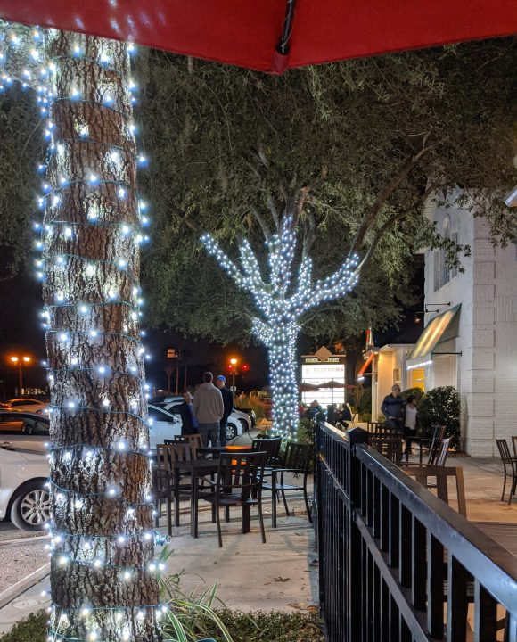 View from Lonnie's Fusion Cuisine, Lake Mary, Florida with holiday lights