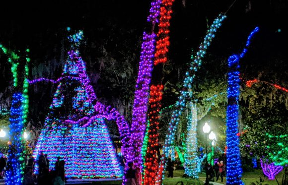 Holiday lights at Central Park, Lake Mary, Florida
