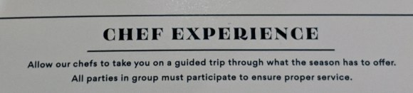 Chef Experience description from menu at Michael's Restaurant - St Augustine