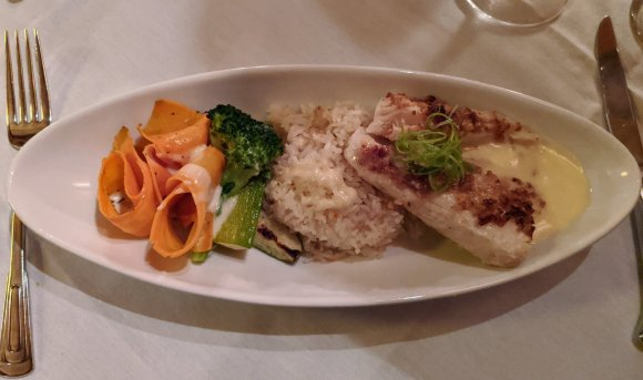 Parmesan Brown Sugar Pecan-Crusted Grouper with buerre blanc at Collage Restaurant, St. Augustine, Florida