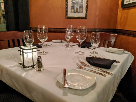 Table set for dinner with plates and wine glasses