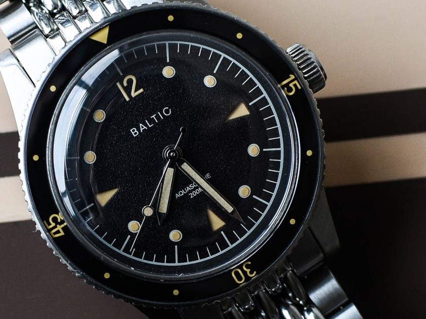 Baltic Aquascaphe dial detail and close up