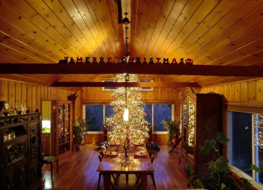 Picture of a lit, decorated Christmas tree in a house a night. Thousands of lights and hundreds of colorful and unusual ornaments. Stunning, in a large, long room with vauted wooden ceiling, large beams, hardwood floors, long table, and forest trees in background through windows