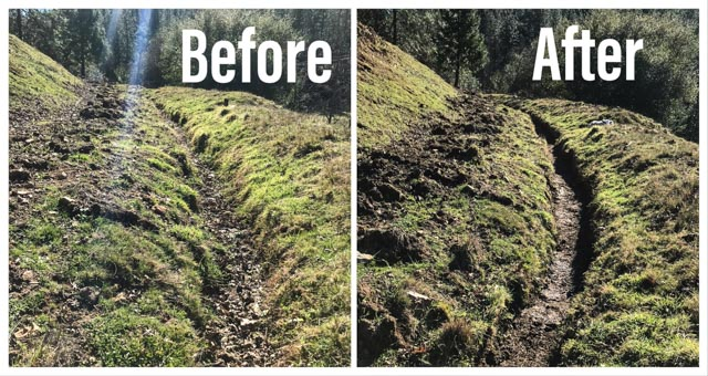 a before and after picture of an aqueduct before it was cleaned full of leaves and after as a nicely dug trench