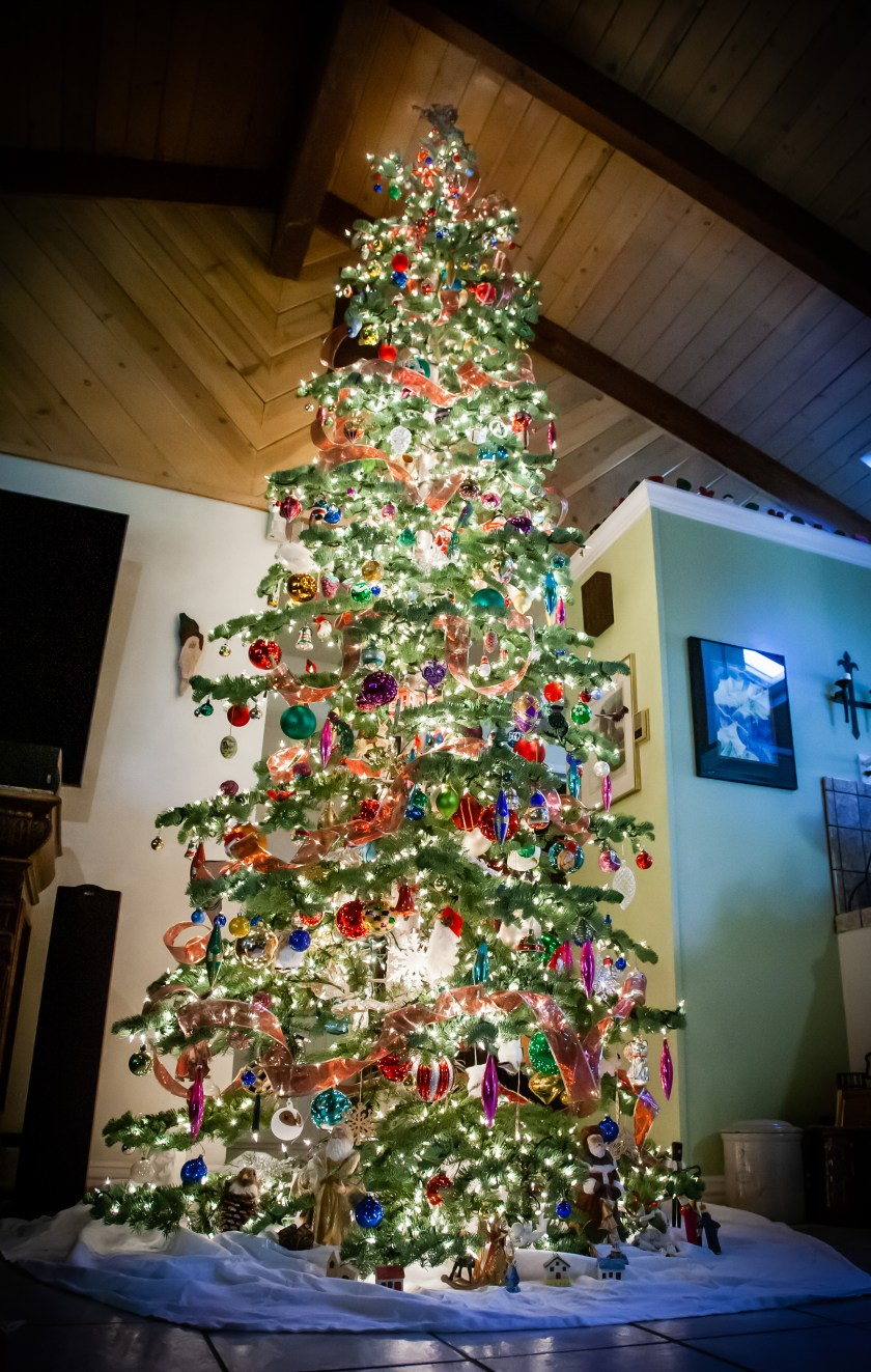a beautifully lit and decorated Christmas tree with many colors in a home with a vaulted ceiling