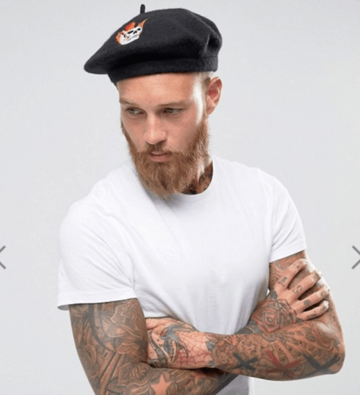 ASOS Beret In Black With Skull Embroidery, ASOS $19