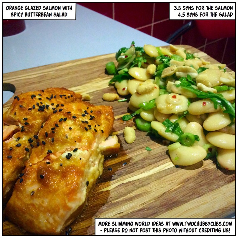 orange glazed salmon with spicy butterbean salad