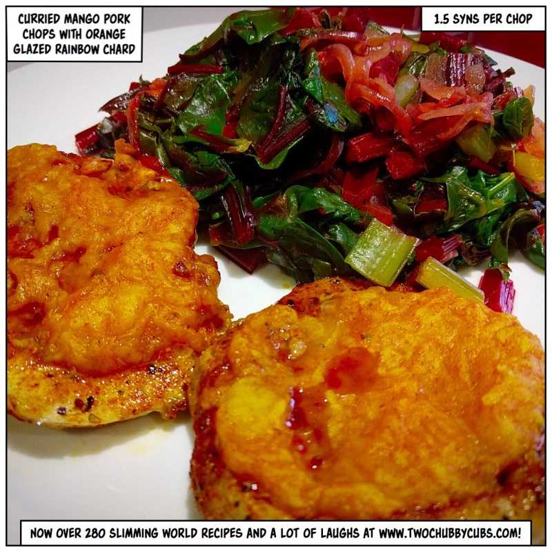 curried mango pork chops with orange glazed rainbow chard