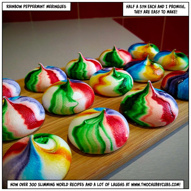 rainbow peppermint meringues