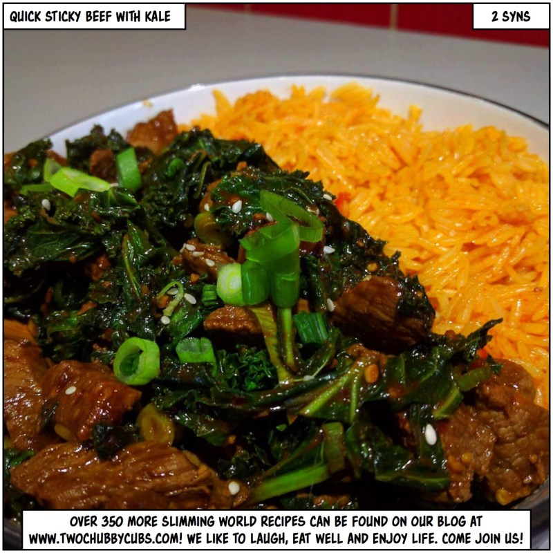 quick sticky beef with kale