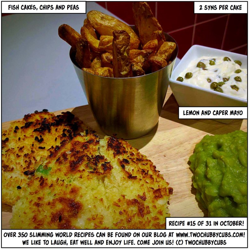fish cakes, chips and peas