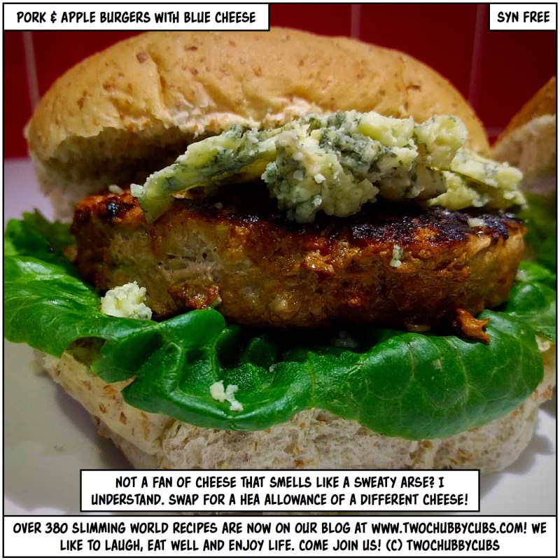 pork and apple burger with blue cheese