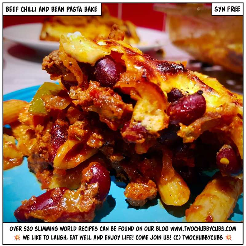 beef chilli and bean pasta bake