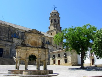 Old fountain and Cathedral
