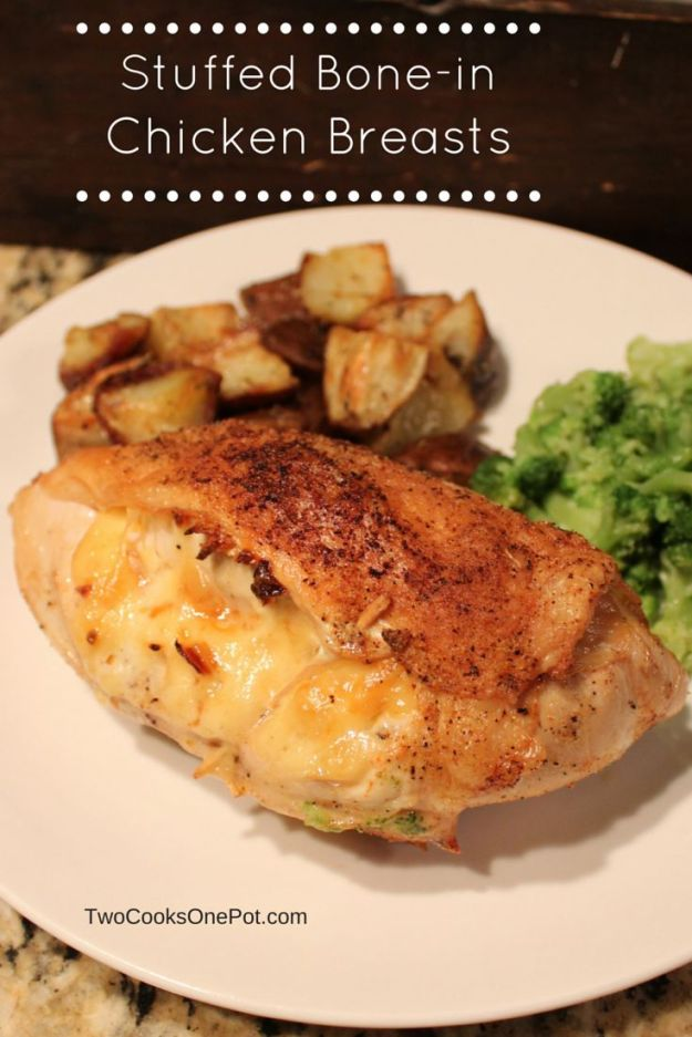 http://twocooksonepot.com Stuffed Bone-in chicken breast