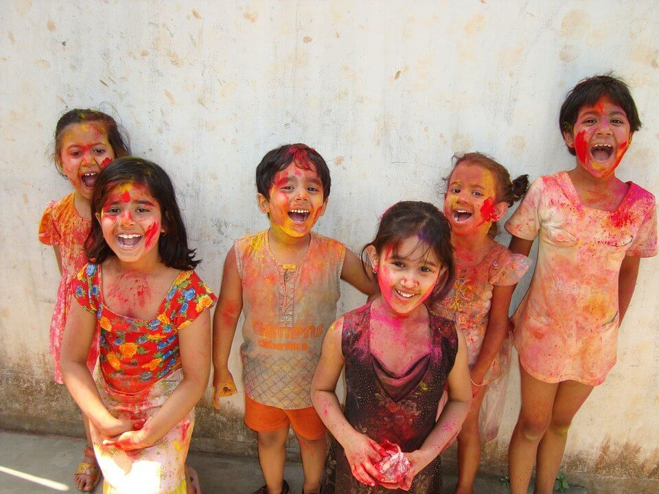 Indian kids with powder from Holi