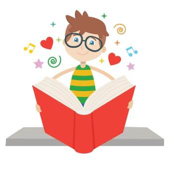 Cartoon pictures of a boy reading a book, surrounded by hearts, musical notes