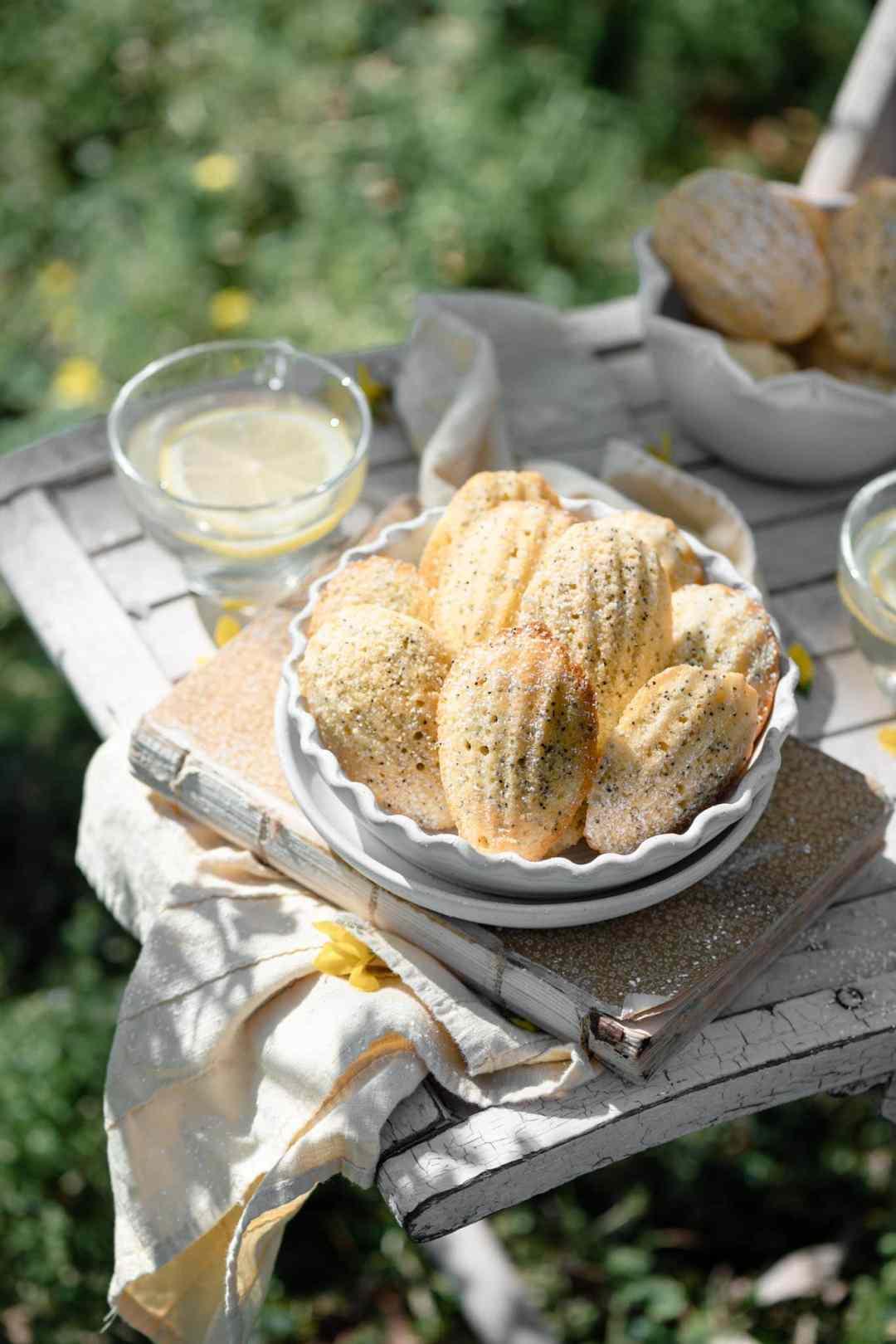 Lemon Poppyseed French Madeleines Recipe served with lemonade.
