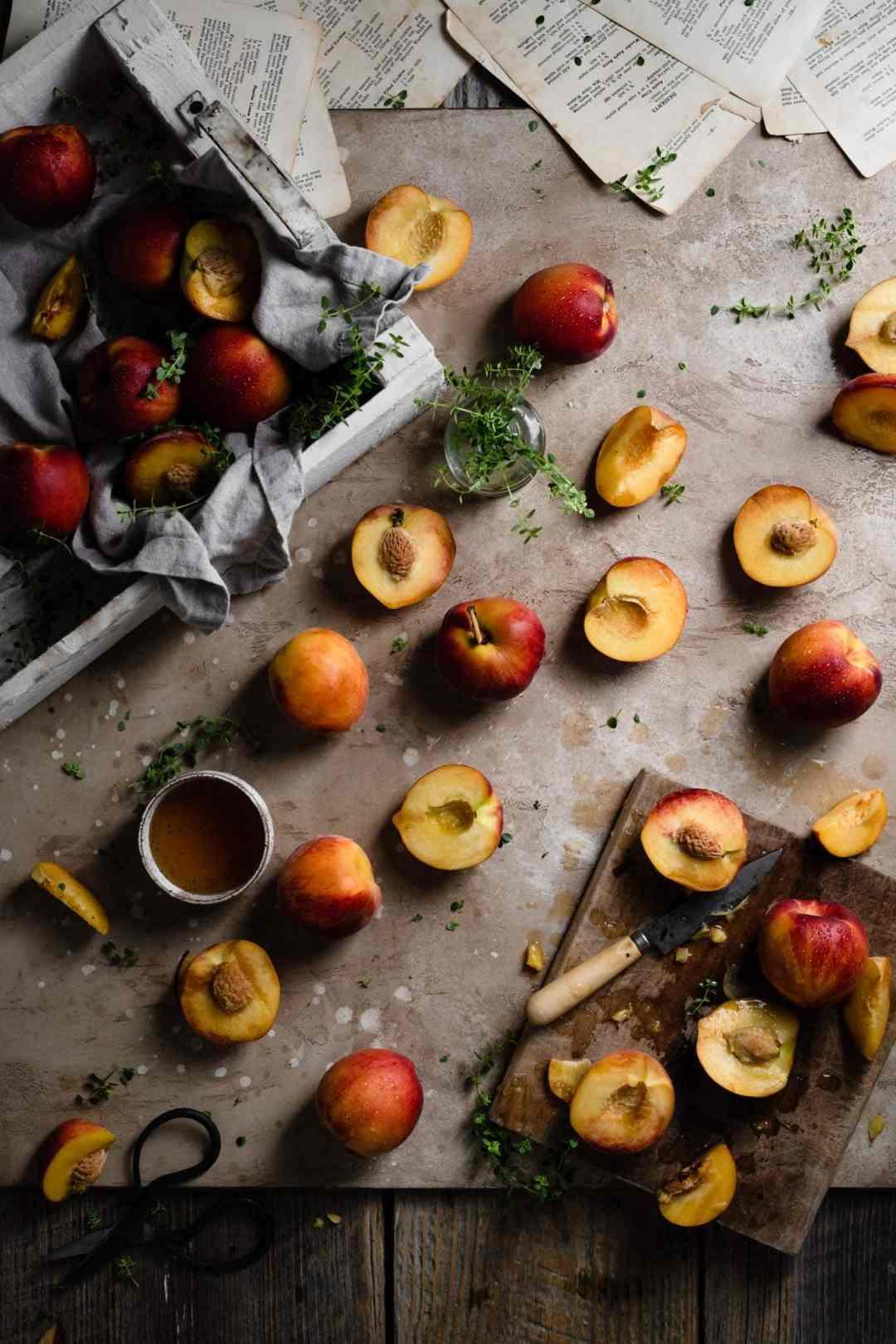 Fresh summer peaches and lemon thyme.