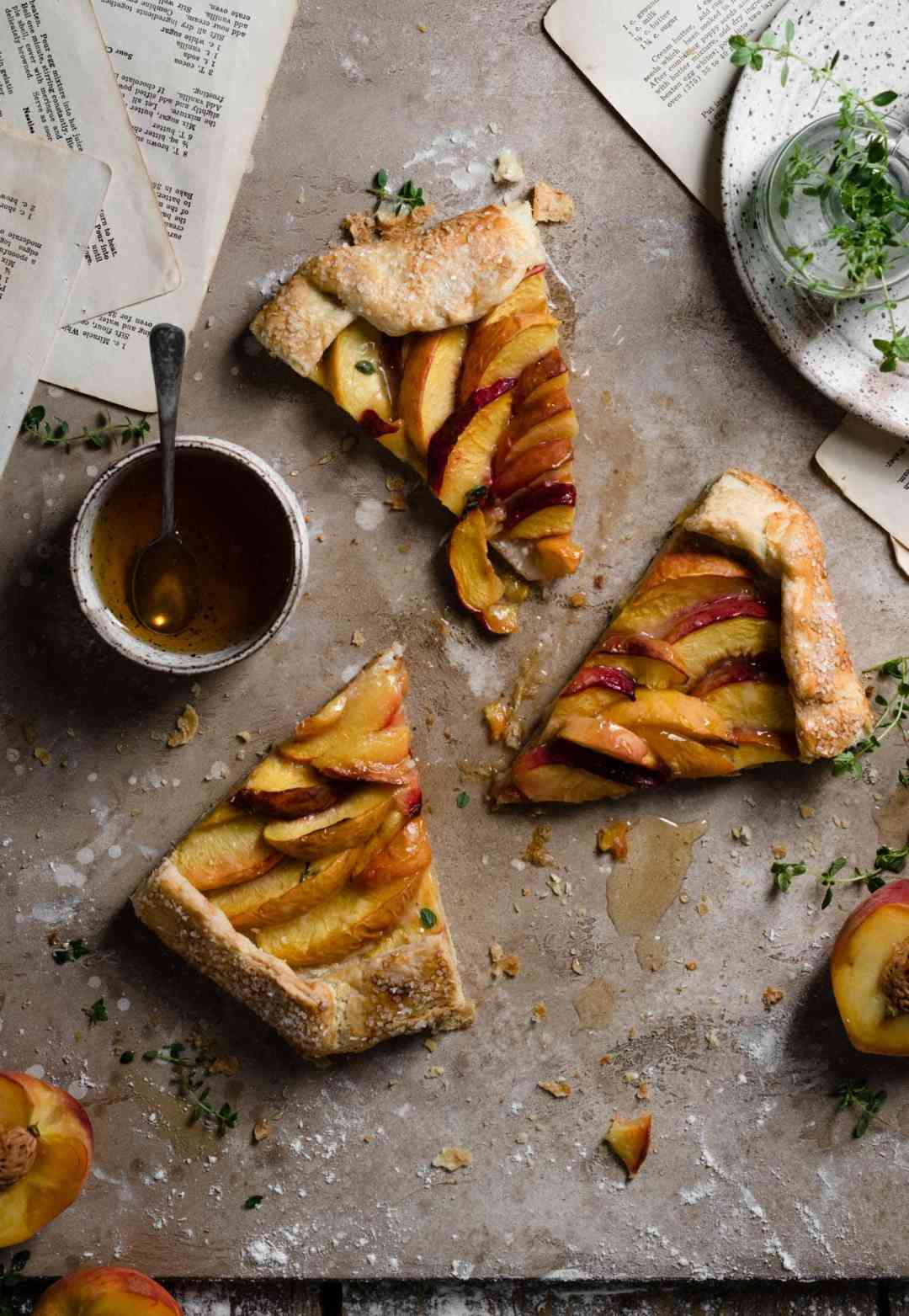 Rustic Tart peach galette with butter crust.