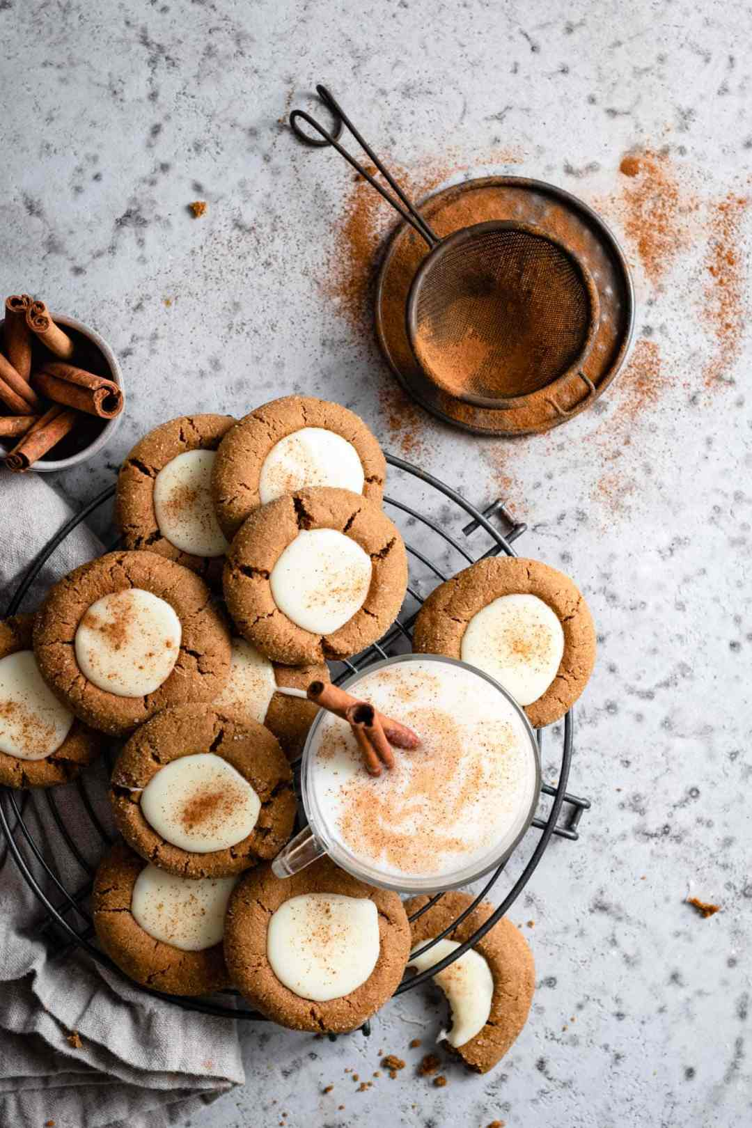 Eggnog Gingerbread Thumbprint Cookie Recipe with white chocolate.