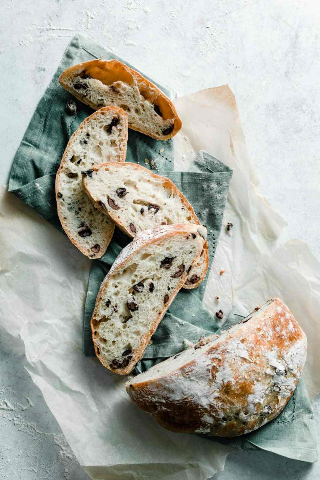 homemade Olive bread recipe sliced.