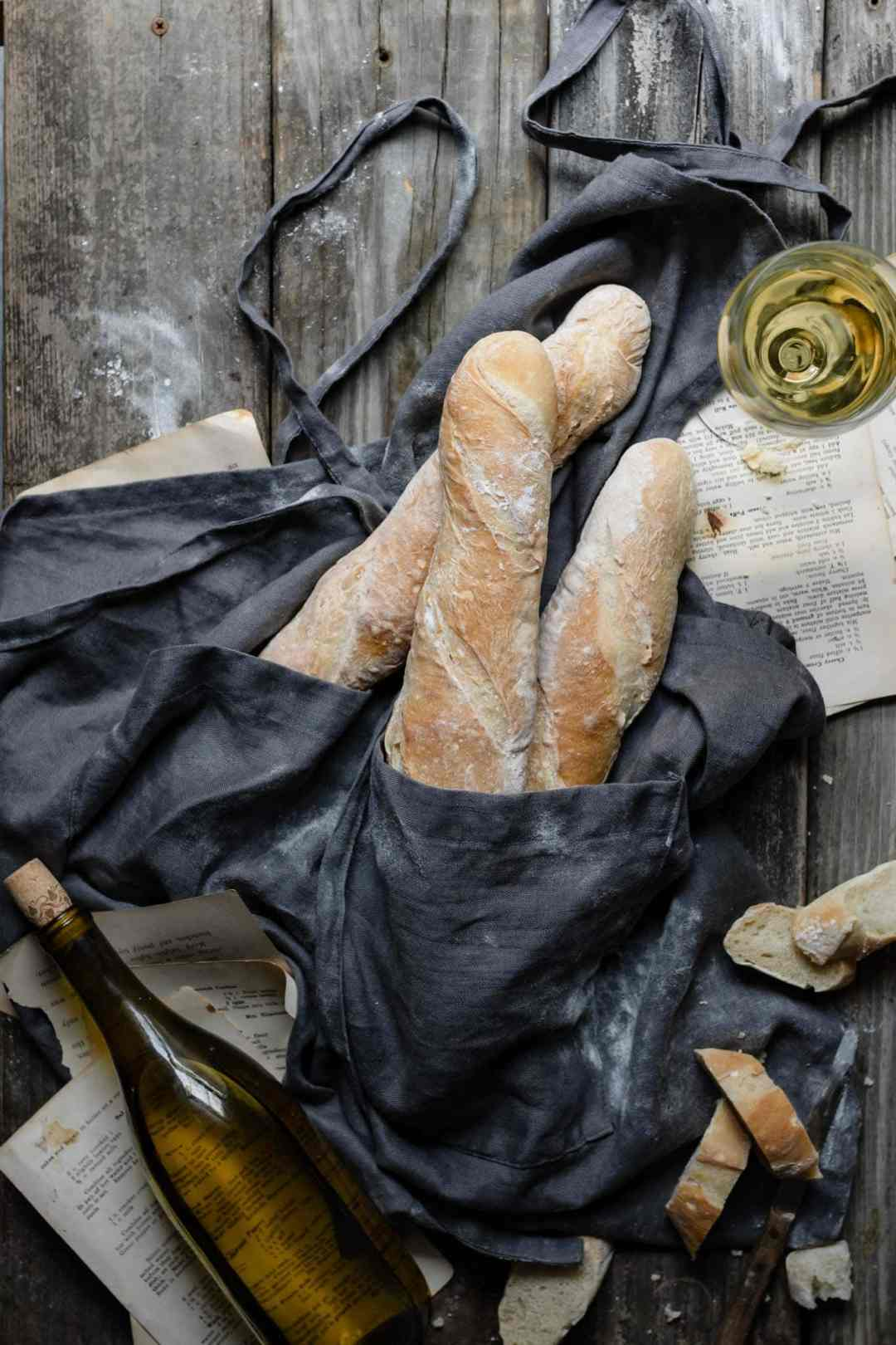 How to make French Baguettes from scratch served with wine.