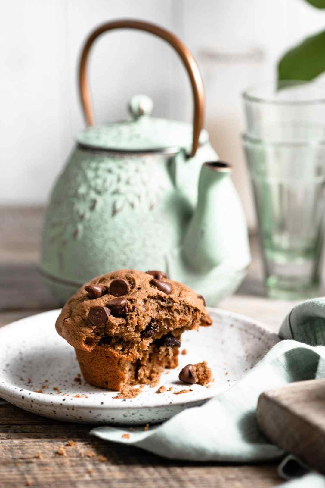 Double chocolate muffins with bakery style muffin top.