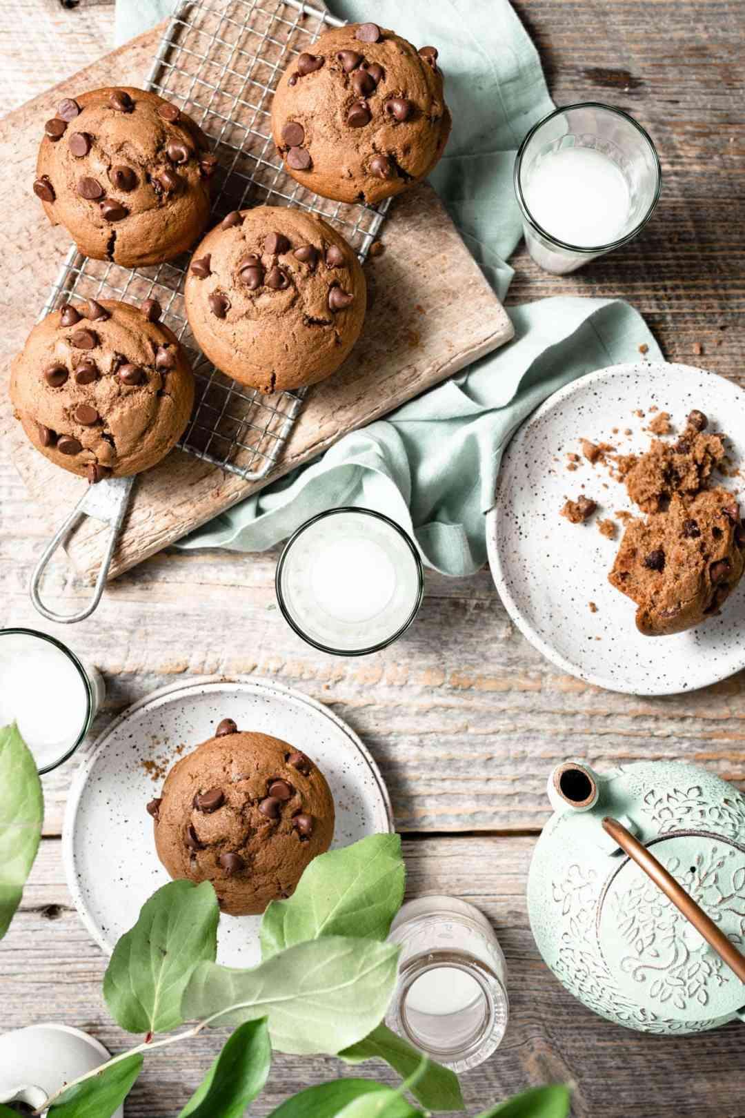 Chocolate Muffin Recipe served with milk.