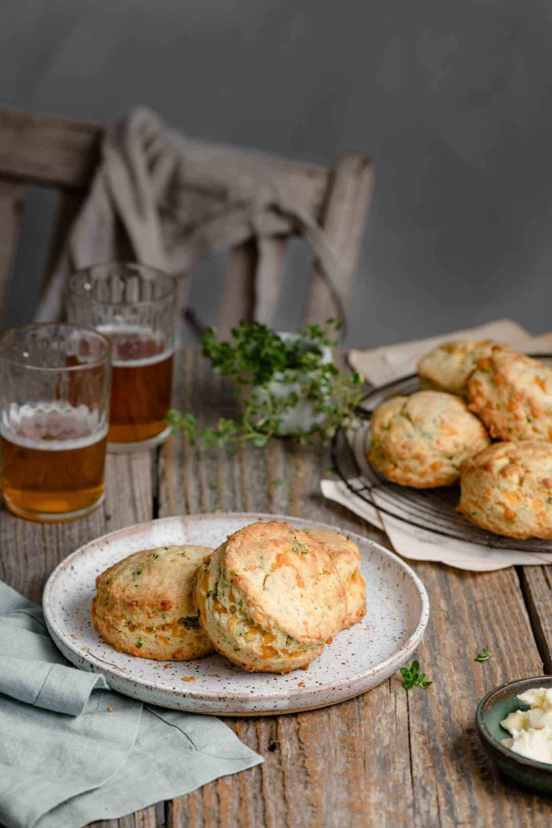 Cheddar and chives scone recipe with fresh herbs.