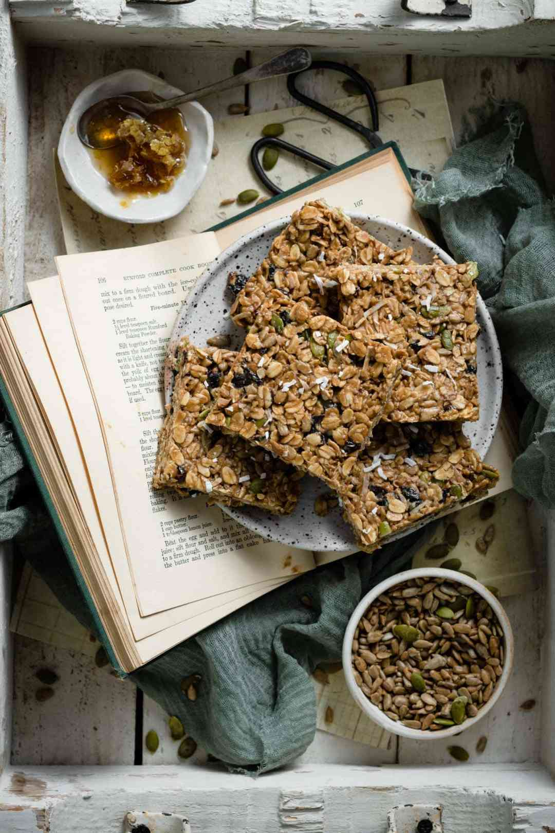 Sliced granola bars with honey and seeds.