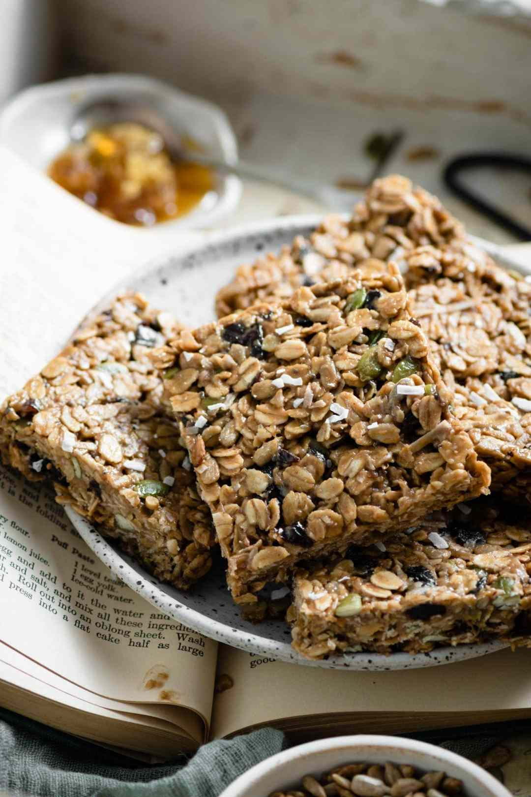 Healthy granola bars with seeds and coconut.