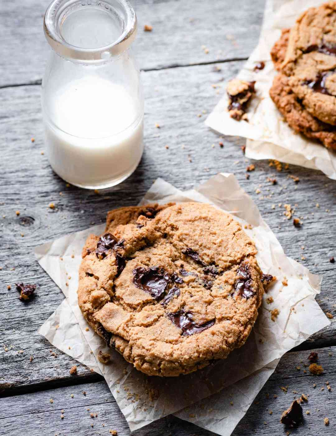 Chocolate Chip Cookies with glass of milk.