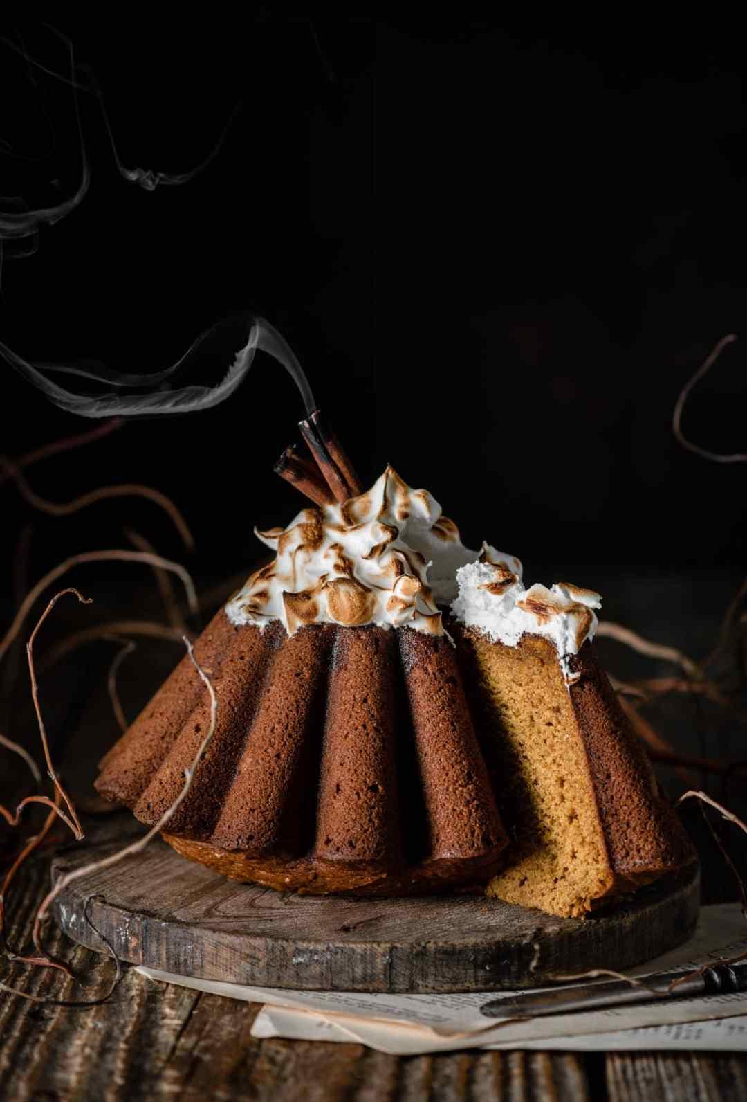 Pumpkin bundt cake with toasted meringue.
