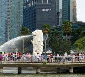 The Merlion, Singapore's part lion, part fish symbol.
