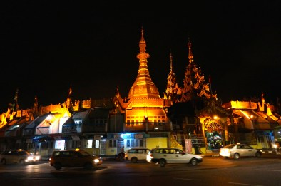 The Sule Pagoda at night. It actually sits in the middle of a traffic circle.