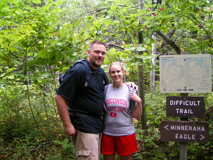 Jason and I hiking the Minnehaha and Eagle Trails in Peninsula State Park