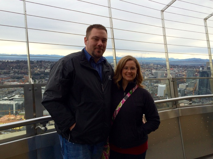 Jason and I out on the Space Needle observation deck